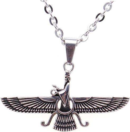 Small Silver Pt Persian Farvahar Necklace Chain Persia Farsi Pahlavi Gift Art