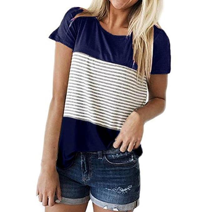 a27094280c34 Amphia Damen Langarm Shirt Bluse Tunika Oberteile,T-Shirt Damen Sommer Mode  Frauen Kurzarm Streifen Splice Bluse Tops Kleidung T-Shirt Oberteile   Amazon.de  ...