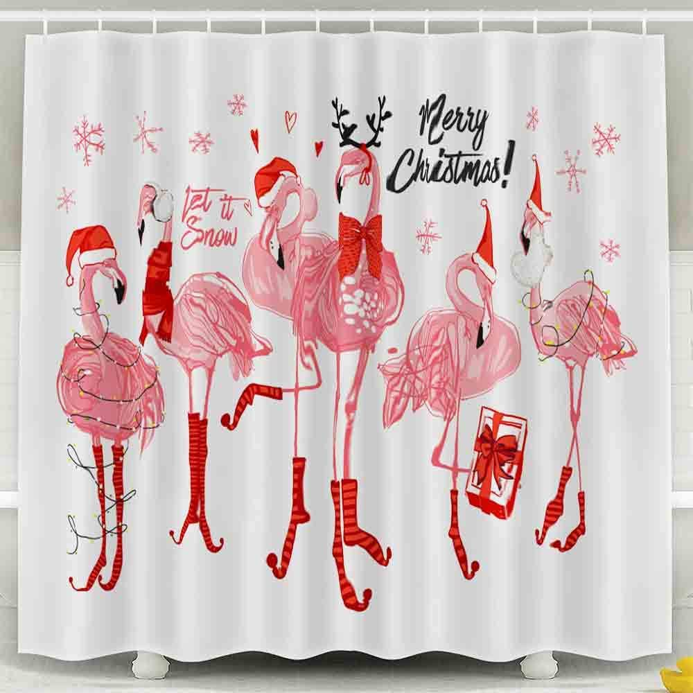 EMMTEEY Holloween Shower Curtain, 72X72Inch Bath Shower Curtain Waterproof Design for Bathroom Décor Watercolor Cute Santa Shower Curtain,Pink Flamingo Christmas and Happy New Year …