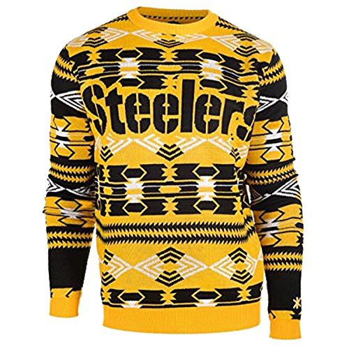 NFL Football 2015 Aztec Ugly Crew Neck Holiday Sweater - Pick Team (Pittsburgh Steelers, Small)
