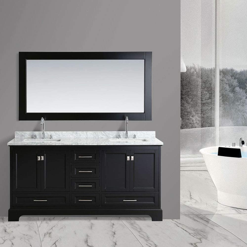 Design Element DEC068B-E 72-inch Omega Collection Marble Double-sink Bathroom Vanity Combo Set with Matching Mirror, Espresso