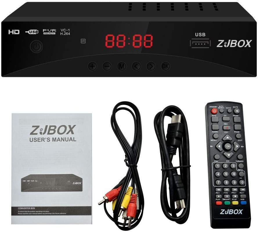Digital TV Converter Box, ATSC Cabal Box - ZJBOX for Analog HDTV Live1080P with PVR Recording&Playback,HDMI Output,Timer Setting LED HDTV Set Top Box Digital Channel Free