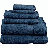 Superior Luxurious Soft Hotel & Spa Quality 6-Piece Towel Set, Made of 100% Premium Long-Staple Combed Cotton - 2 Washcloths, 2 Hand Towels, and 2 Bath Towels, Sapphire