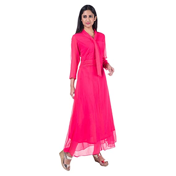 Mamosa Pink Georgette 3/4th Sleeve gown for latest design redymade ...
