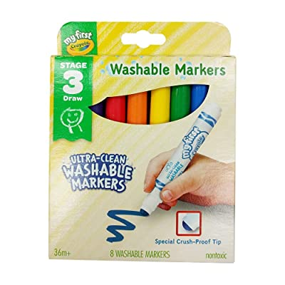 Crayola My First Ultra-Clean Washable Markers, 8 Classic Crayola Colors Non-Toxic Art Tools for Toddlers & Preschoolers 2 & Up, Crush Proof Tip Made for Little Hands, Worry-Free Fun: Toys & Games