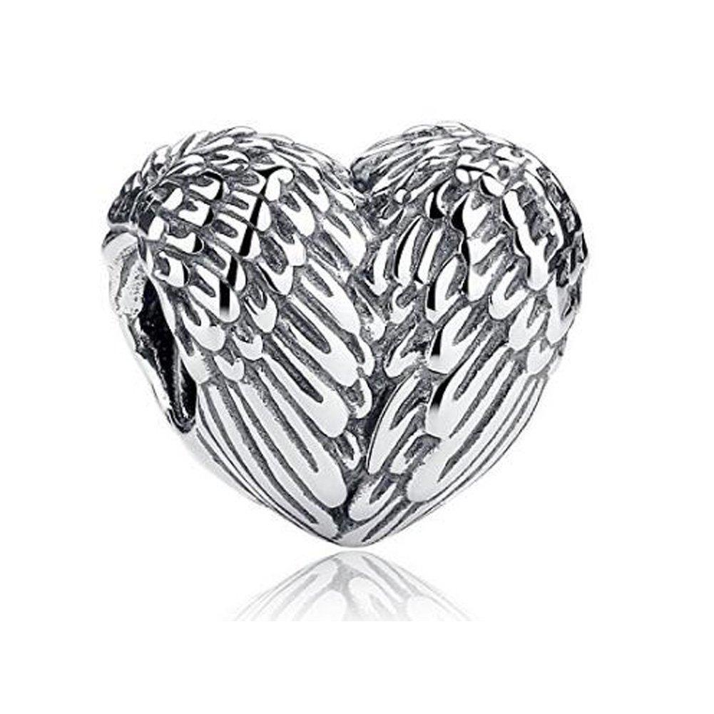 925 Sterling Silver Feathers Angel Wing Heart Shape Charm Bead Fit European Bracelet Necklace