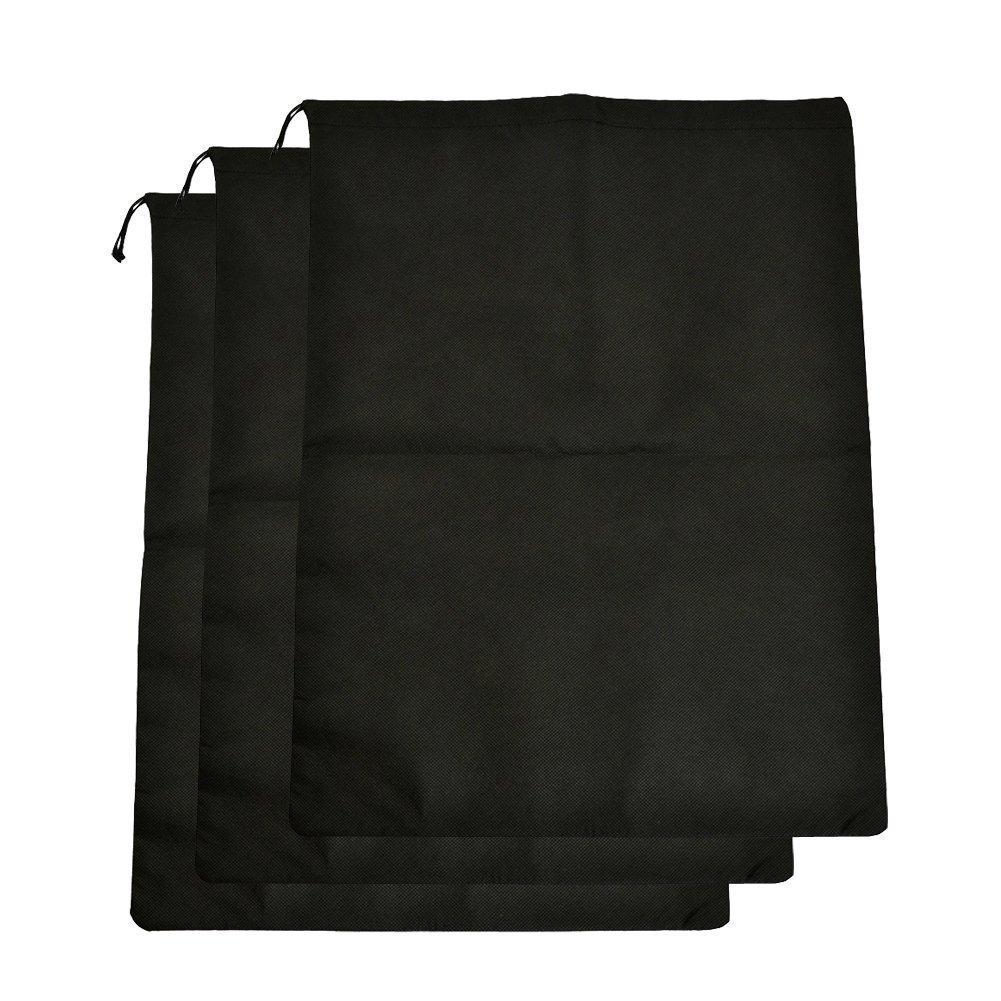 シューズバッグ旅行巾着ほこり防止ナイロン靴ストレージの旅行キャンピングキャリー 3 Pcs ブラック 728350640003 3 Pcs  B073SRVN1W