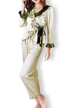 24043ae2e058 MNII Womens Satin Pyjamas Ladies Stunning Printed Long Sleeve Silk Nightwear