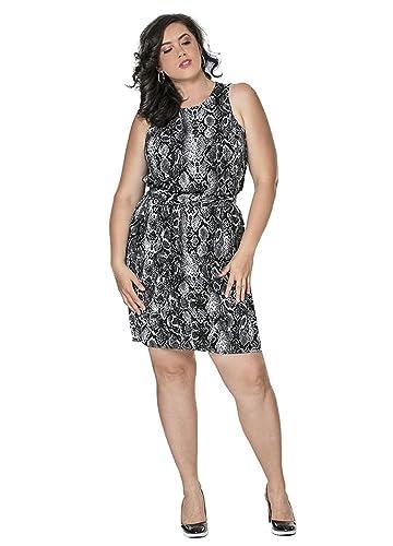 TD New York SOPHIA Curvy Women's Skin Print Sleeveless Plus Size Dress in Python Animal Print