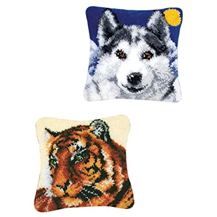 Puppy and Wolf Latch Hook Rug Kits with Basic Tools DIY Home Ornaments