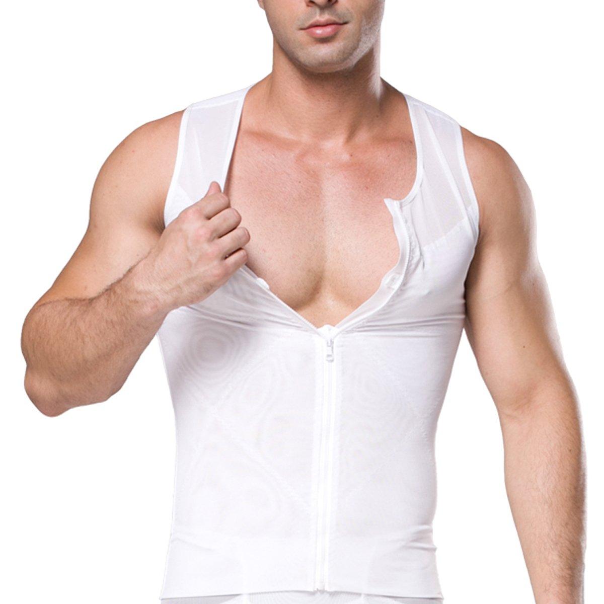 Mirecoo Herren Slim fit Netz Bauch-K/örper-Former abnehmend Shirt Kompressionsshirt Weste