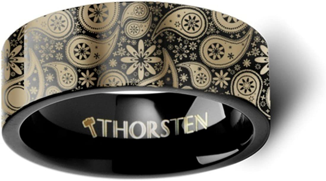 Thorsten Paisley Design Bold Print Pattern Ring Flat Black Tungsten Ring 6mm Wide Wedding Band from Roy Rose Jewelry