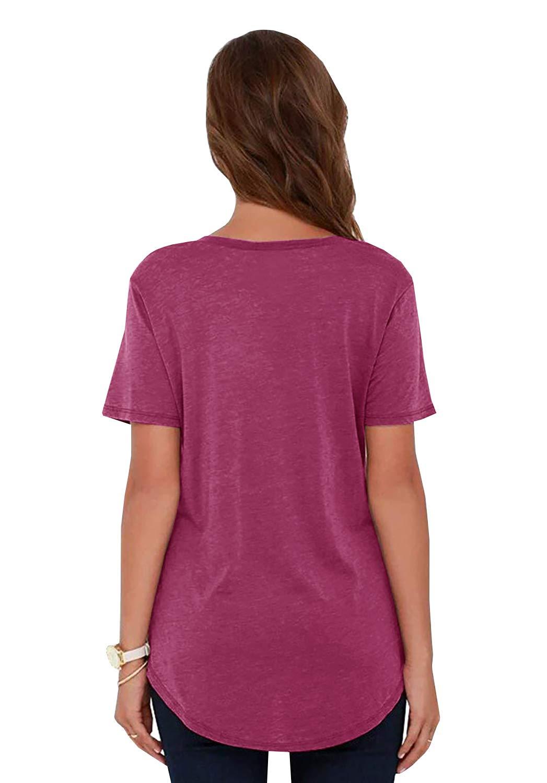 YEXIPO Womens Short Sleeve V Neck T Shirts Summer Casual Loose Basic Tee Tops with Pocket Mauve
