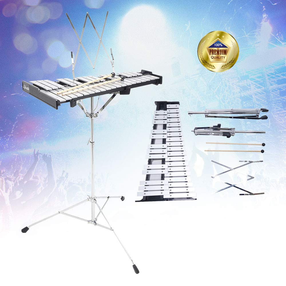 Libretto 32 Notes Educational Glockenspiel Aluminum Bell Kit with Mallets & Stand, Made in Taiwan!Made Exclusively by Stage Rocker!