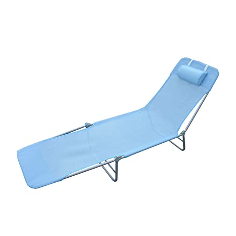 Perfect Outsunny Adjustable Reclining Beach Sun Lounge Chair, Blue