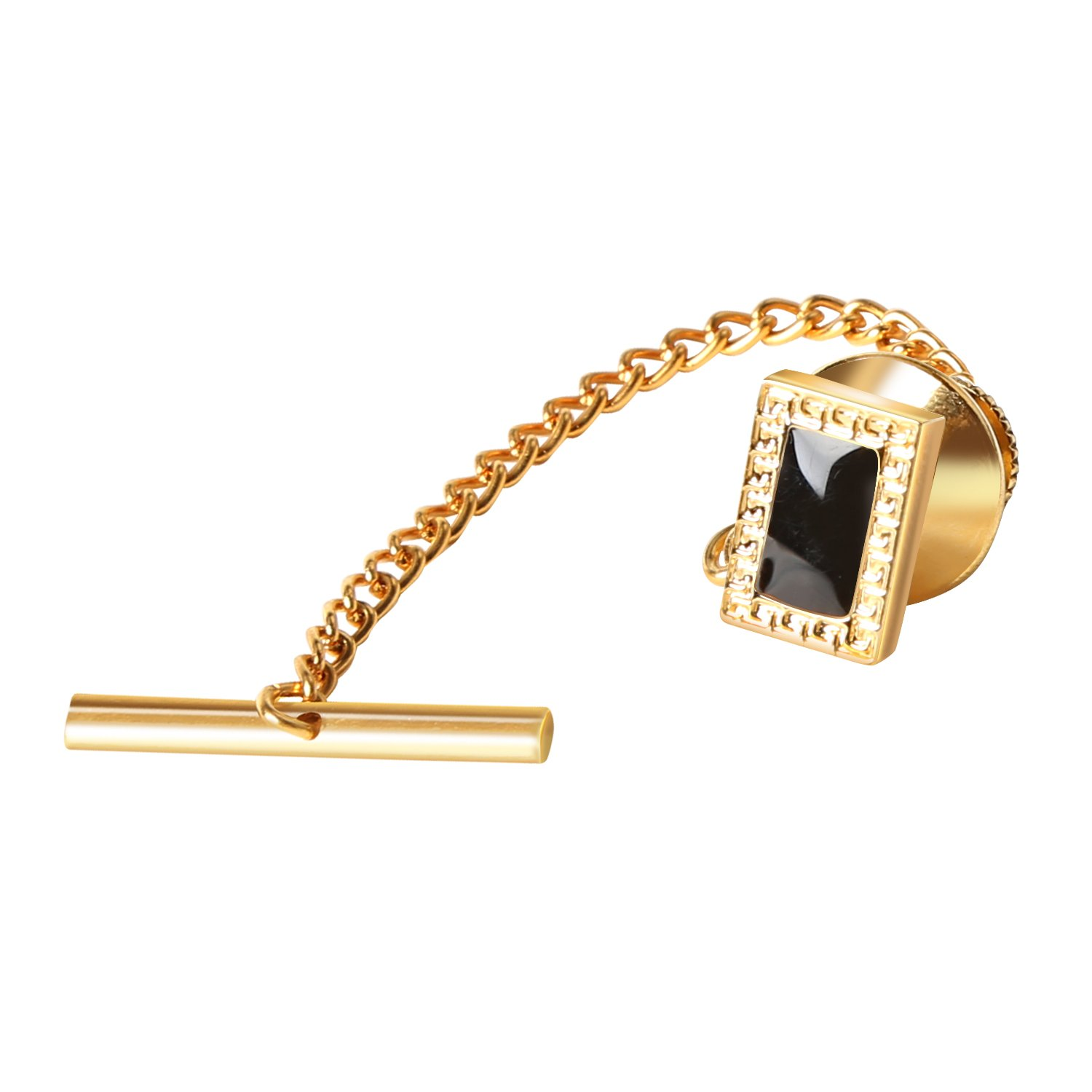 Digabi Men's Jewelry 10mm Black Tie Tack With Chains and Clutch Back Rectangle Tie Clip Button Wedding Business Accessories Golden