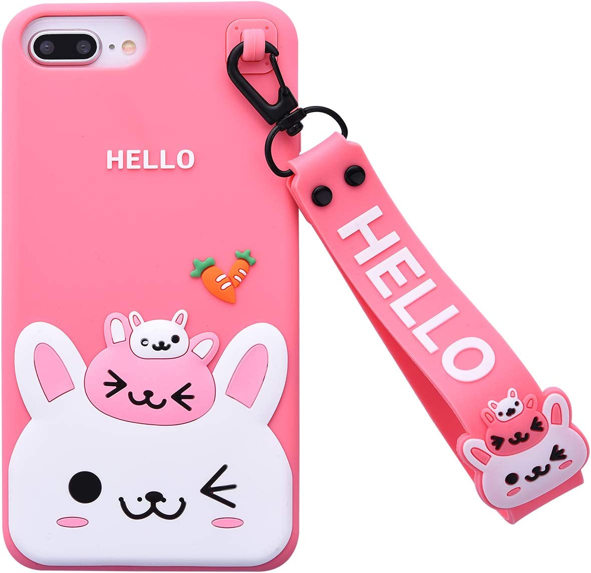 Case for iPhone 7Plus/iPhone 8Plus Case,iFunny Cute 3D Cartoon Kawaii Radish Rabbit Shockproof Soft Silicone Rubber Case with Wrist Strap for iPhone 6 6S Plus 7 8Plus (5.5inch) (Radish Rabbit Pink)