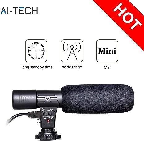 Microfono Condensador | Microfono Externo de Color Negro | Microfono Direccional de grabaciòn y para entrevista para Canon Nikon y Camara DSLR DV SGC-598: Amazon.es: Electrónica