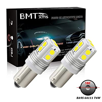 BMTxms Canbus BA9S 64111 T4W LED DRL Lights Car Bulbs,180 Degrees Lamps DRL Light Daytime Running Light Backup Reverse Lamps Parking Lights 10-3030-SMD Turn Signal Light(2 Pack, Xenon White): Automotive