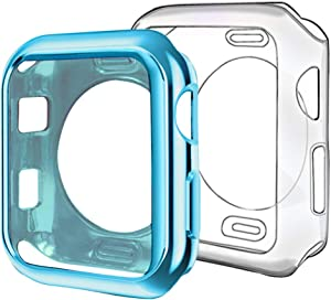 ISENXI Compatible with Apple Watch Case 38mm,2 Pack Soft TPU Ultra-Slim Lightweight Bumper Scratch Resistant Protective Case Cover Compatible with Apple iWatch Series 3 2 1 (2Pack(Clear+Lake Blue))