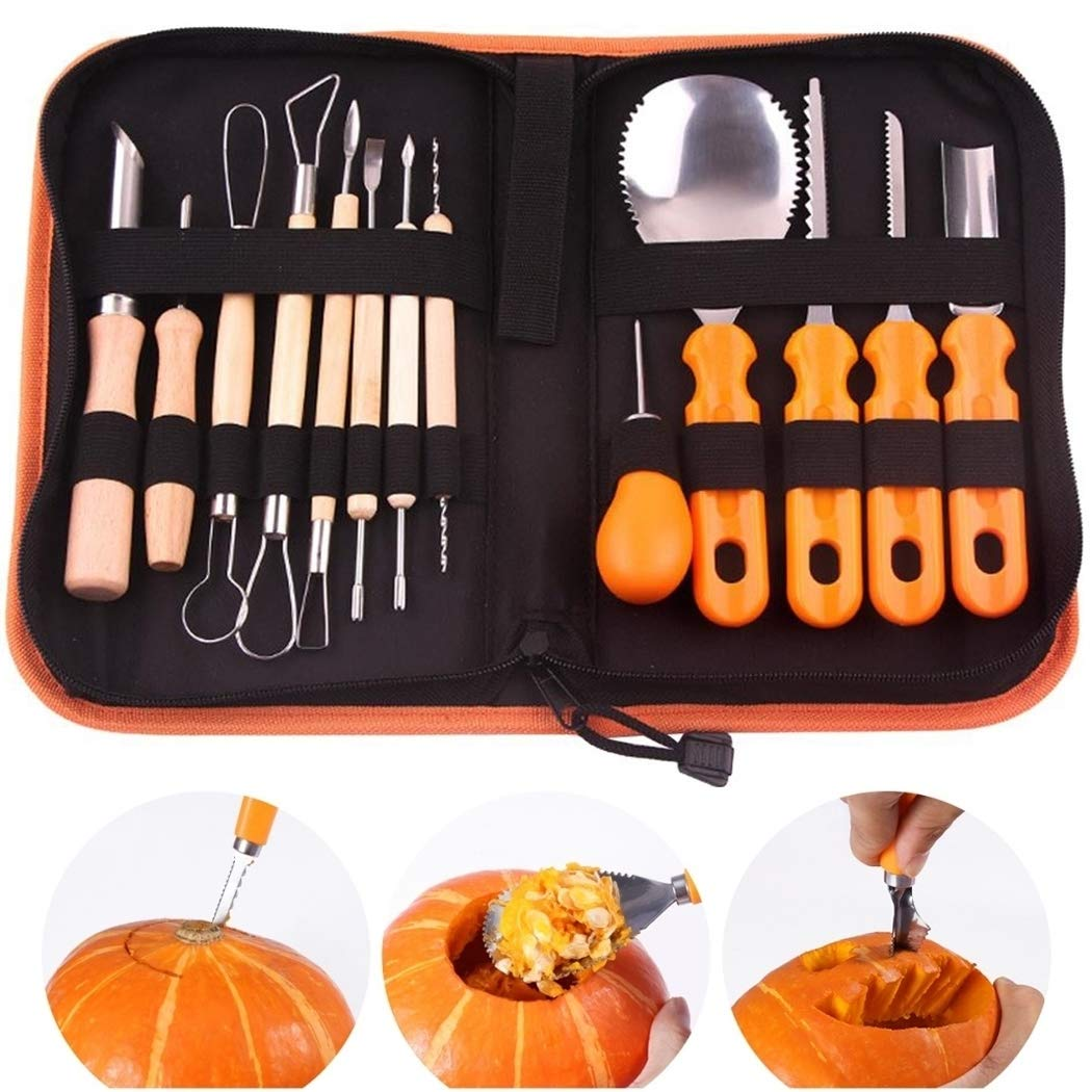 Pumpkin Carving Kit, 13 Pcs Stainless Steel Pumpkin Carving Kit Tools Set for Halloween Crafts by B bangcool