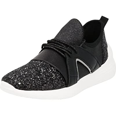Cambridge Select Women's Low Top Lightweight Stretch Glitter Lace-Up Casual Sport Fashion Sneaker | Shoes
