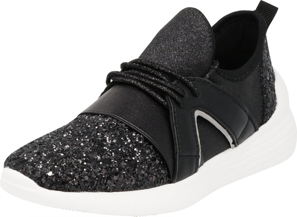 Cambridge Select Women's Low Top Closed Toe Lightweight Soft Stretch Glitter Lace-up Casual Sport Fashion Sneaker B07DGPG5YW 6 B(M) US|Black