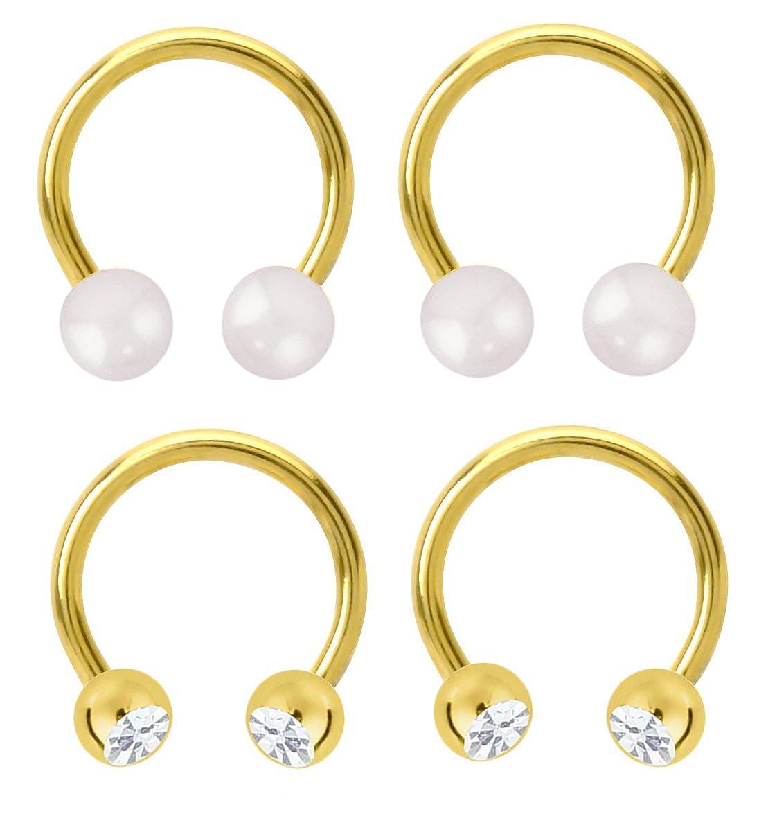 1//2 earring hoop belly septum 14g nipple 2 Pair Pearl /& cz gem Gold Plated Horseshoe Ring lip