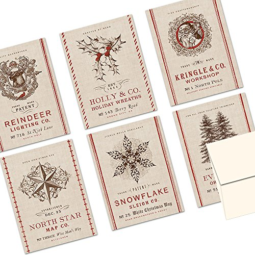 Note Card Cafe Christmas Greeting Card Set with Envelopes   72 Pack   Blank Inside, Glossy Finish   6 Vintage Burlap Holiday Designs   Bulk Set for Greeting Cards, Occasions, Birthdays (Transport Card Christmas)