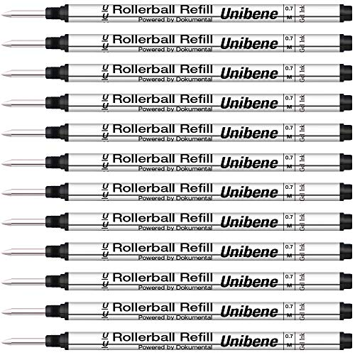 Unibene Montblanc Compatible Gel Ink Rollerball Refills 12 Pack, 0.7mm Medium Point - Black, Rolling Ball Refills Fit Mont Blanc Rollerball/Fineliner Pen