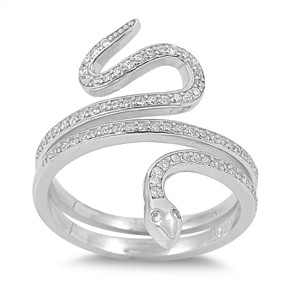 CloseoutWarehouse Cubic Zirconia Snake Ring Sterling Silver Size 6