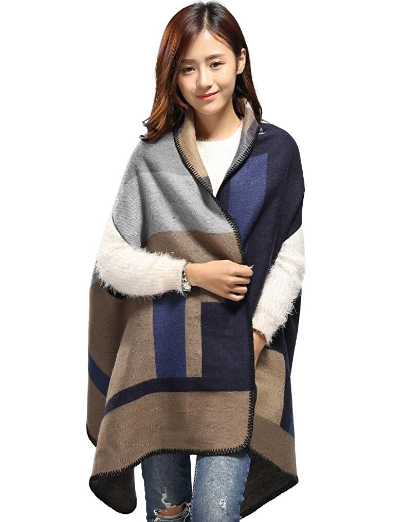 bluee Duolaimi Women's Winter Reversible Scarf Blanket Poncho Cape Wrap Shawl