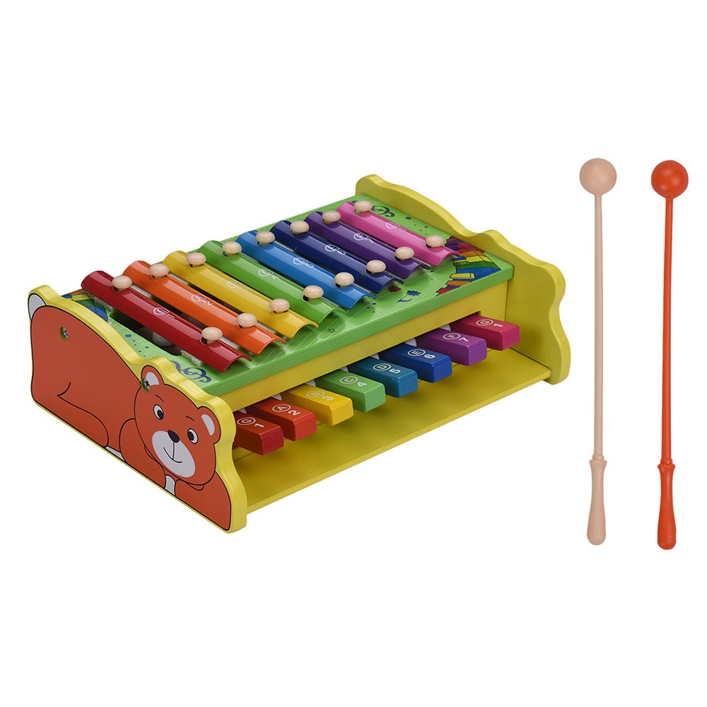 Muslady Multifunctional 2-in-1 Wooden Xylophone Glockenspiel 8 Notes with 2 Mallets Educational Percussion Instrument Musical Toy Gift for Kids Children
