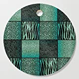 Society6 Wooden Cutting Board, Round, Teal and Black Exotic Animal Patterns by donnasiegrist
