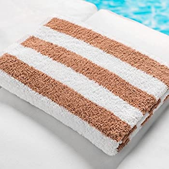 Splash Pool Towel - Hotel & Resort Large Pool Towels for Pool, Beach, Spa, Gym in Beige Cabana Stripes - 100% Premium Cotton (30
