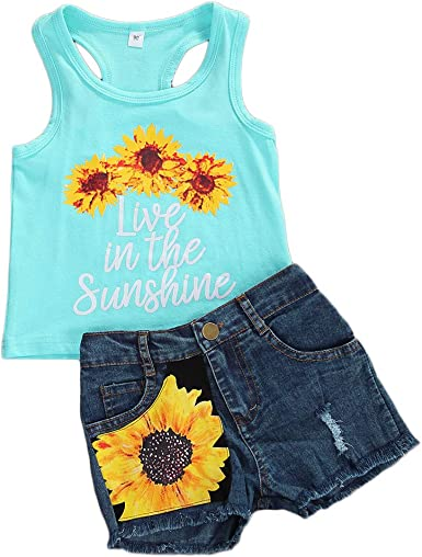2Pcs Toddler Kids Baby Girls Sleeveless Letter Tops+Denim Shorts Outfits Clothes