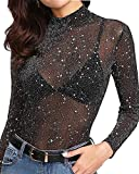 MANGOPOP Women's Glitter Sheer Mesh Tops Tee Blouse Clubwear (High Neck-Black, Small)