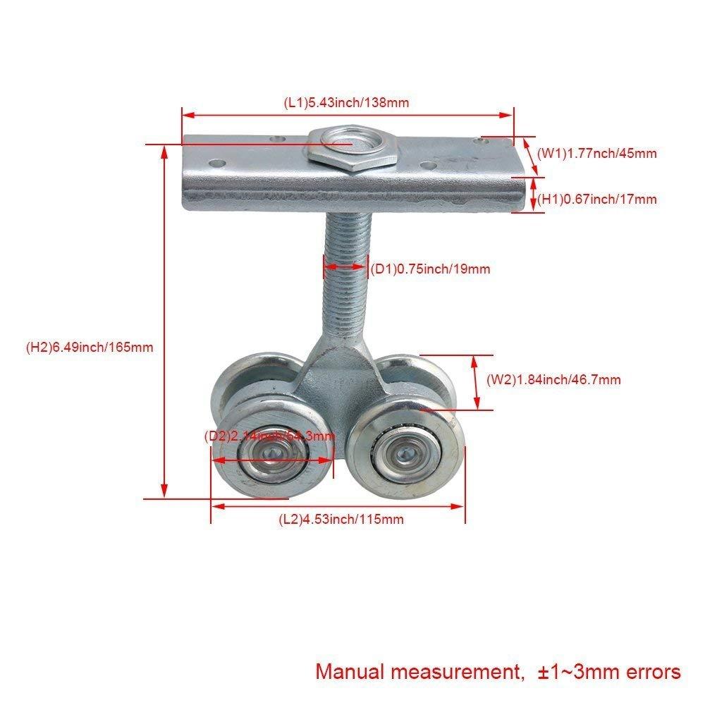 Dia 54mm Steel Double Wheel Rail Hanging Trolley Silver Sliding Track Roller Hanging Barn Door Rail Trolley Wheel H5 w/Nuts by Happynest Box Rail Hangers (Image #4)