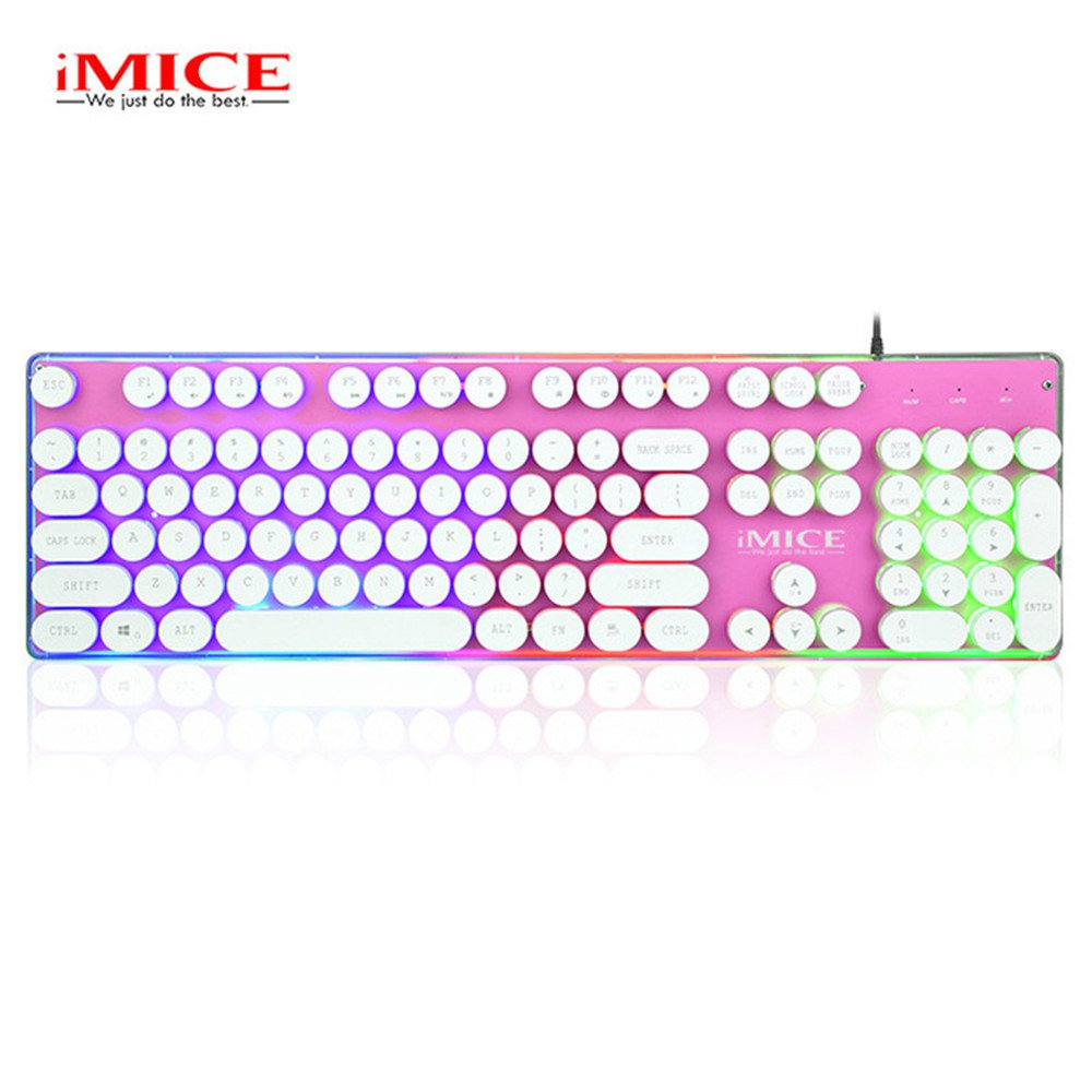 Amazon.com: IMICE AK-700 USB Wired Gaming Keyboard with LED Backlit Keycaps Teclado Gamer Mechanical Feel Keyboard for Overwatch LOL PC Games (Pink): ...
