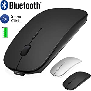 Bluetooth Mouse for Laptop/iPad/iPhone/Mac(iOS13.1.2 and Above) / Android PC, Wireless Mouse Slim USB Rechargable Quiet Mice for Windows/Linux/Notebook/Mac/MacBook Air, Bluetooth4.0 Black