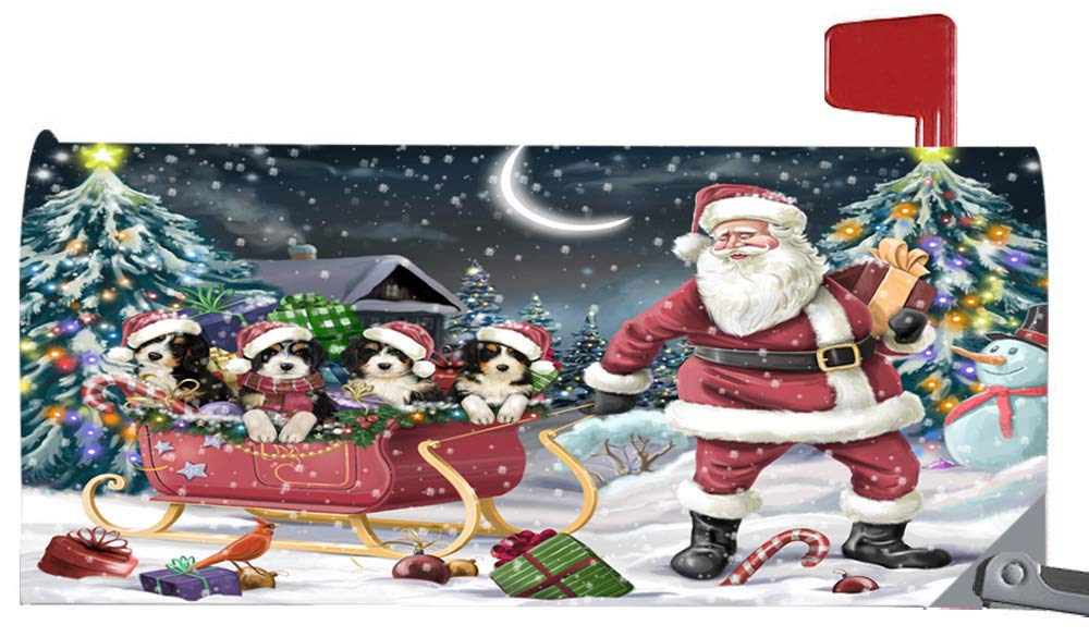 Doggie of the Day Magnetic Mailbox Cover Santa Sled Christmas Happy Holidays Bernedoodles Dog MBC48111 by Doggie of the Day
