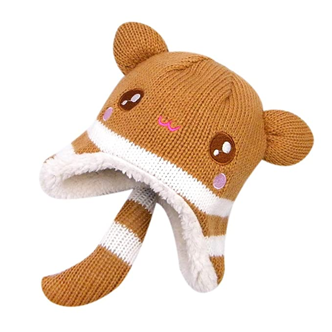 Amazon.com  RARITY-US Kids Winter Hat Toddler Pom Pom Knit Dinosaur ... 043ab17d6b5