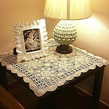 yazi Tablecloths Crochet Square Table Cover Lace Table Covering Doilies for  Furniture Dcor Beige Color 15.7