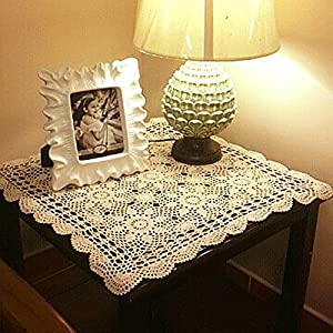 Yazi Tablecloths Crochet Square Table Cover Lace Table Covering Doilies For  Furniture Décor Beige Color 15.7inch