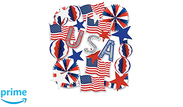 """6 tissue bells RED WHITE /& BLUE 4TH OF JULY MEMORIAL DAY PATRIOTIC decor 10/"""""""