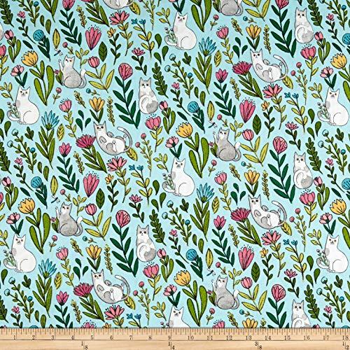 Flower Catnip - Windham Fabrics Whistler Studios Catnip Flower Cats Aqua, Fabric by the Yard