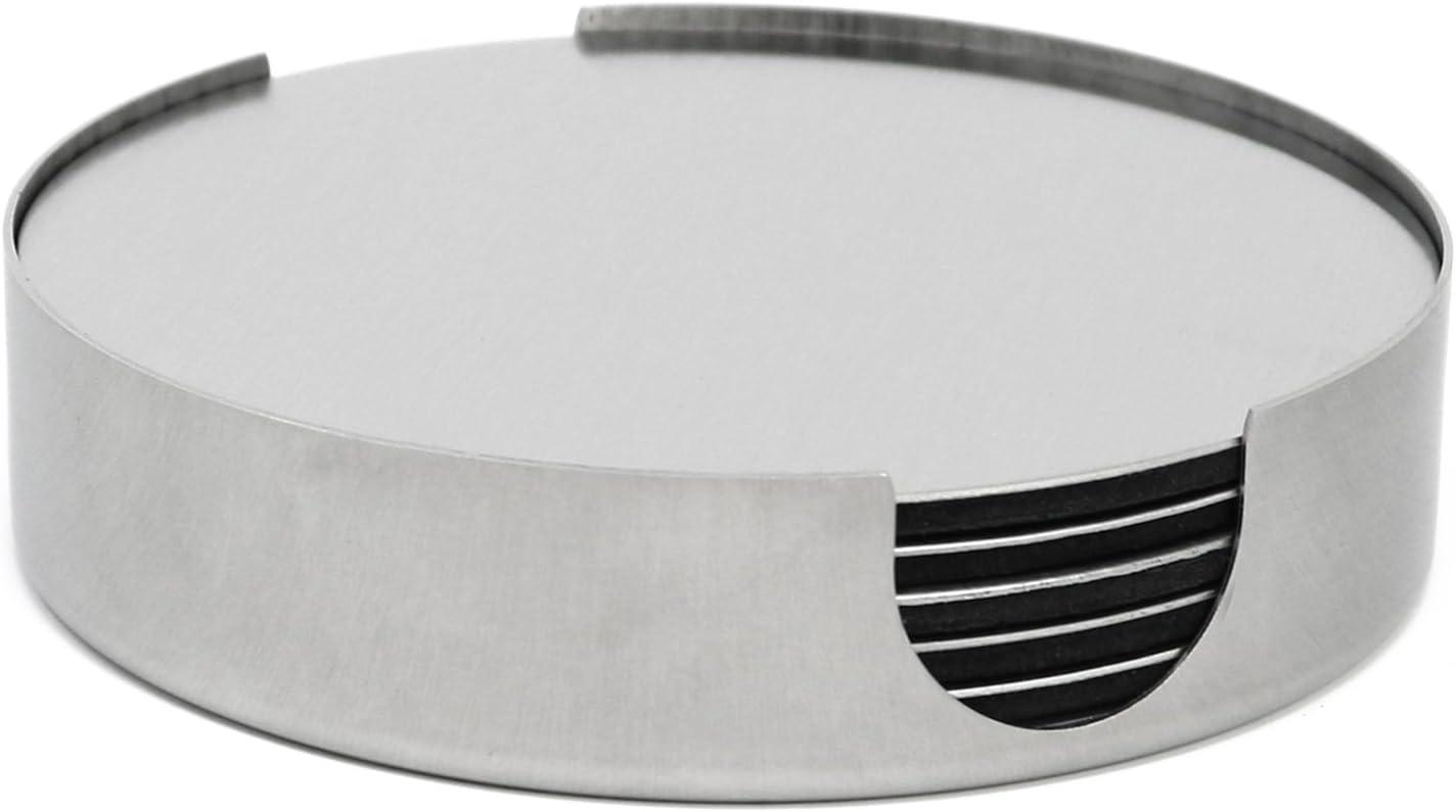 com-four/® 7-piece coaster set made of stainless steel 007 pieces - stainless steel /Ø 10 cm drink coaster with holder