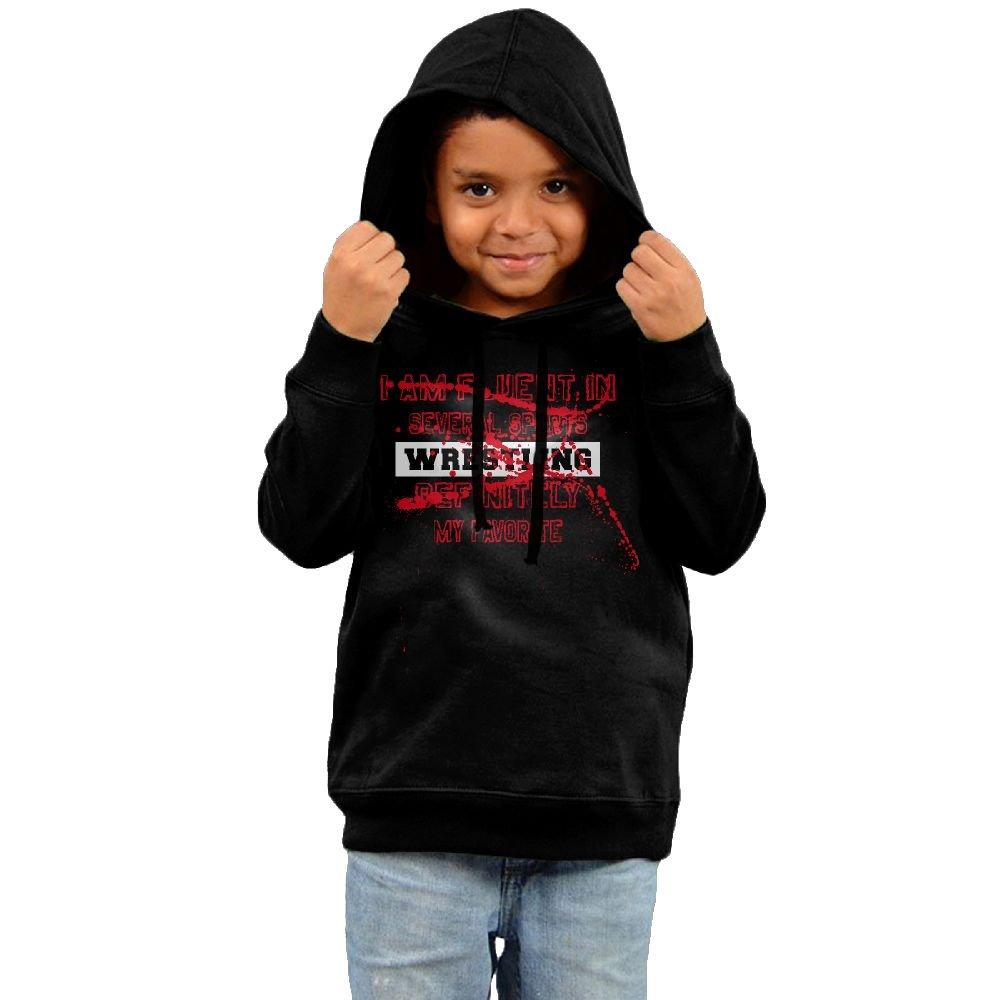 Yuanzhoud Kids I speak Fluent Wrestling Definitely Favorite Long Sleeve Hoodies Sweatshirt