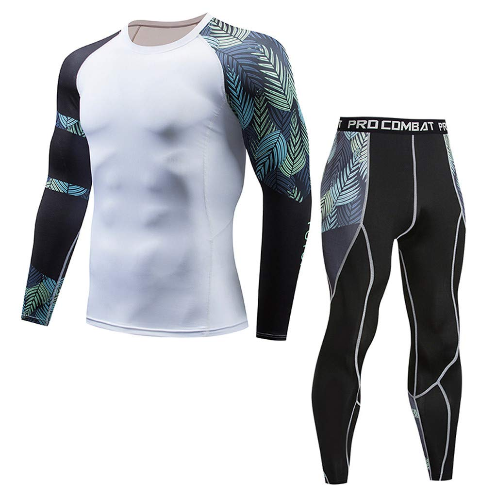 TIFENNY Men's Casual Fitness T-Shirt Print Color Block Fast Drying Elastic Tops Pants Sets Sports Tight Suit 2019 New