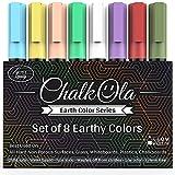 Chalk Markers - Pack of 8 Liquid Earth Colour Pen - Use on Chalkboard, Blackboard, Whiteboard, Window, Bistros Glass - Wet Wipe Erasable - 6mm Reversible Bullet & Chisel Tip
